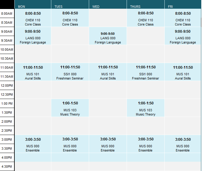 Sample Freshman Music Student Schedule University of Puget Sound – Sample Schedule