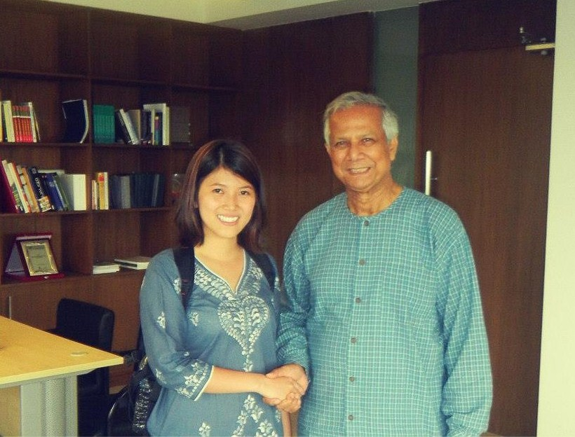 Uyen and Professor Yunus in his office