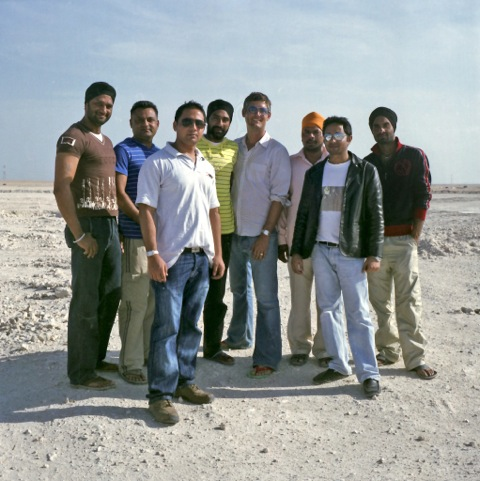 Andrew and friends in the Industrial Area in Doha, Qatar, 2010. Photo by Kristin Giordano.