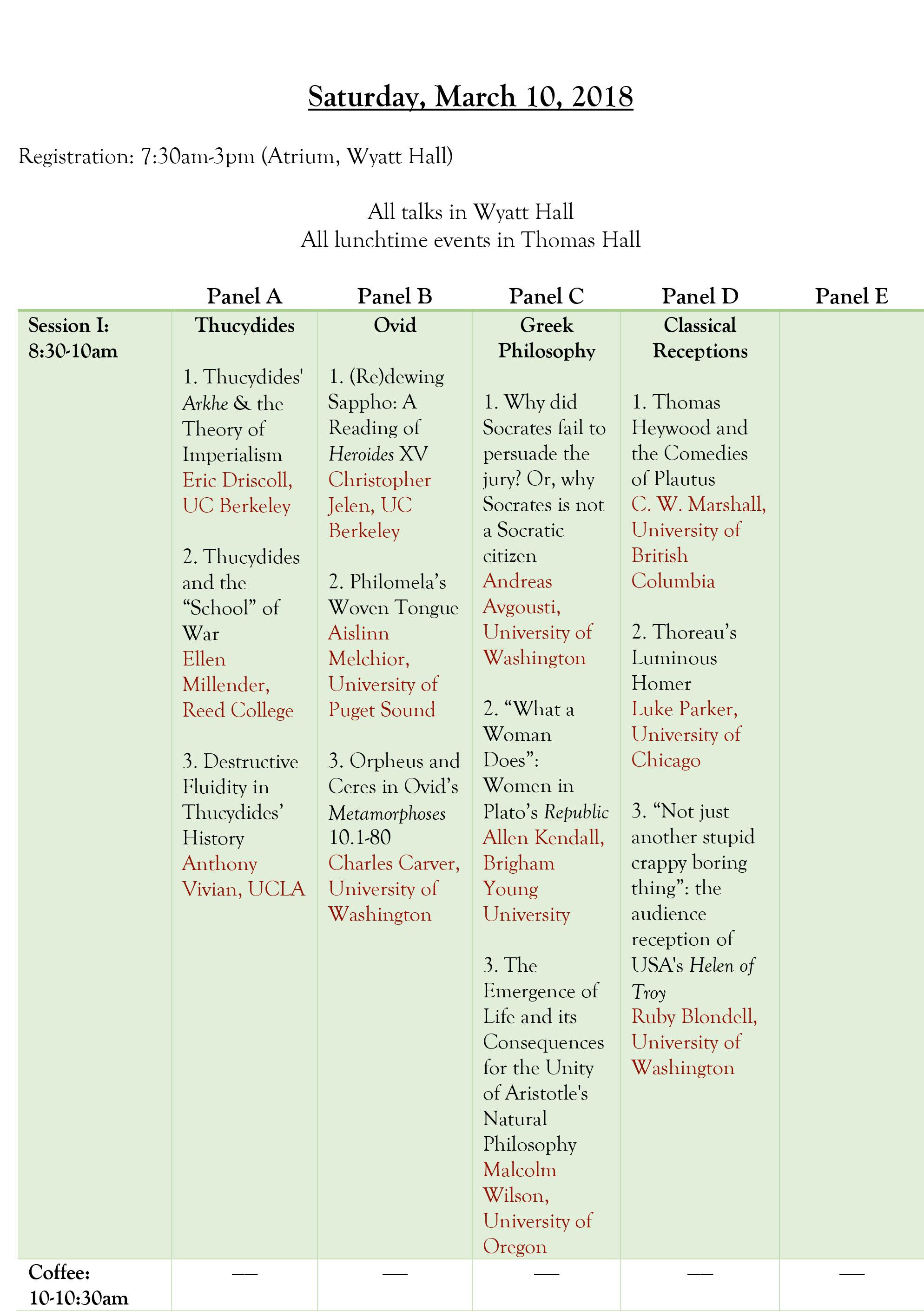 CAPN Schedule