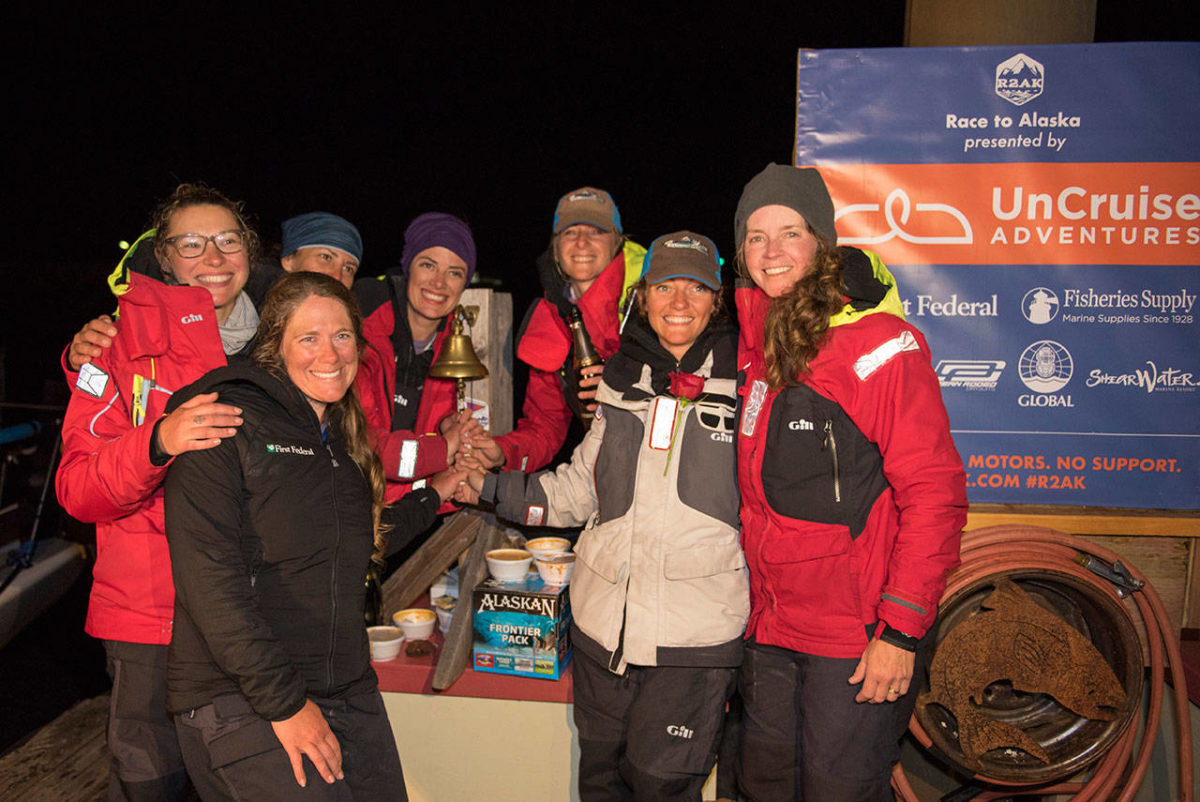 Kelly Danielson M.O.T.'12 (far left, front) and the other members of the Sail Like a Girl team won the Race to Alaska on June 24. The team was the first all-women group to win the 750-mile unmotorized and unsupported race from Port Townsend, Wash., to Ketchikan, Alaska. Photo by Katrina Zoe Norbom/Racetoalaska.com.
