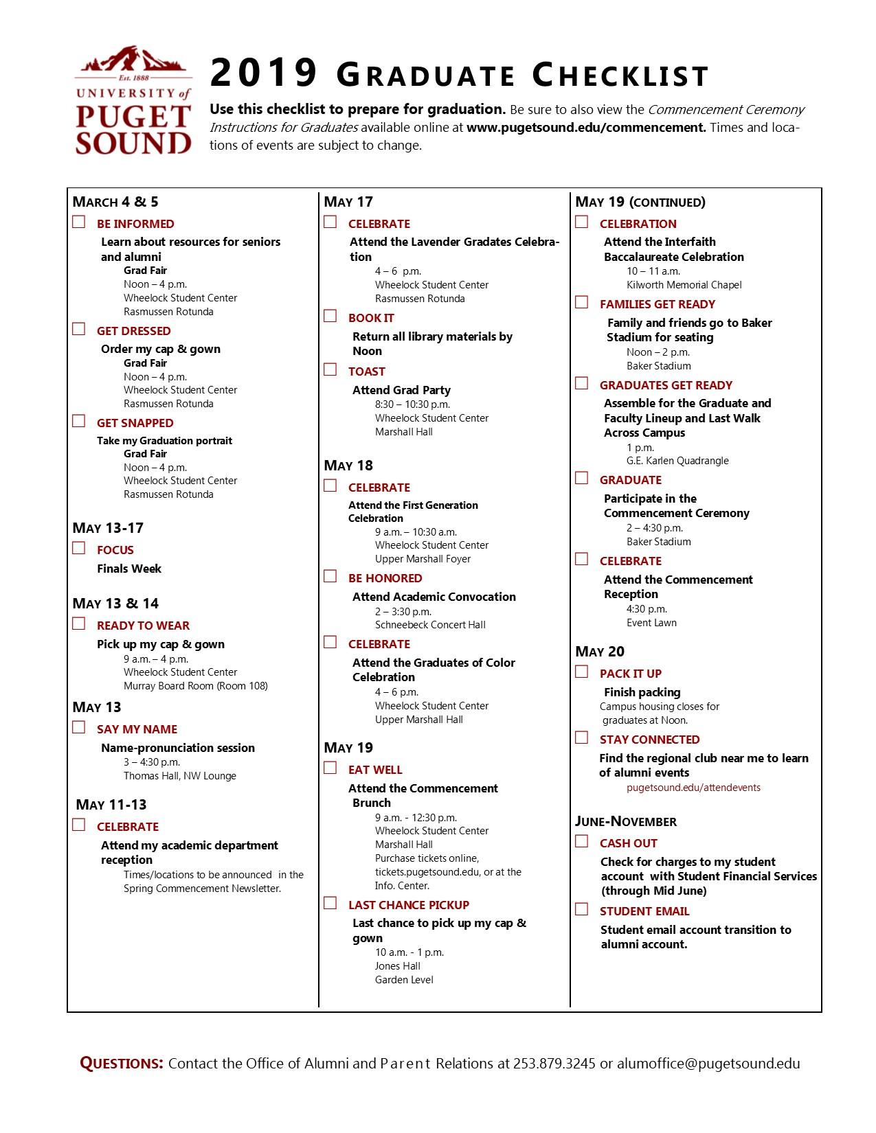 Graduate Check List · University of Puget Sound