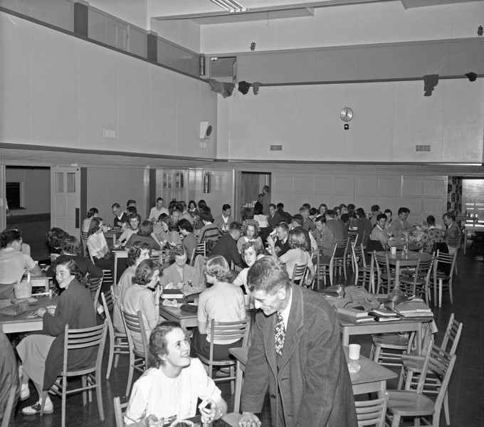 In this 1949 view the sliding doors are in place at the south end of the main commons room.