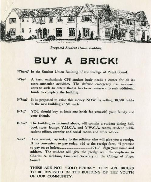 """""""Buy a Brick"""" flier for the 1941 """"brickskrieg"""" to raise money for Kittredge."""