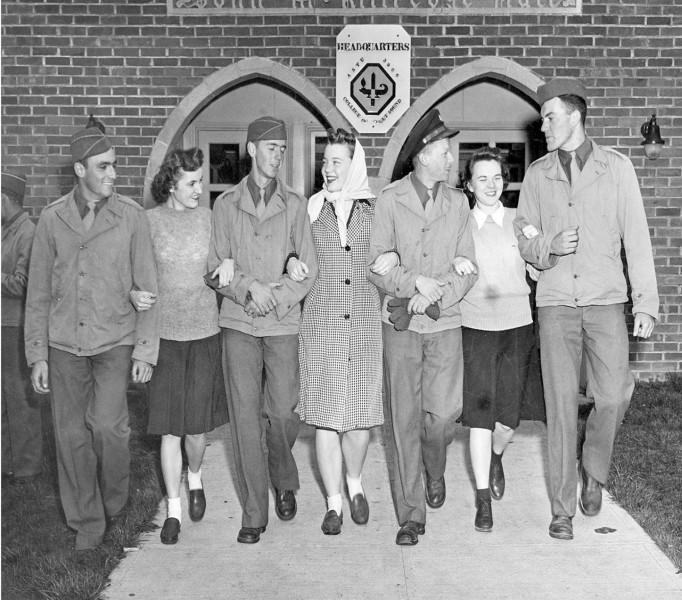In December 1943 the campus welcomed 238 Army Specialized Training Program engineering students.