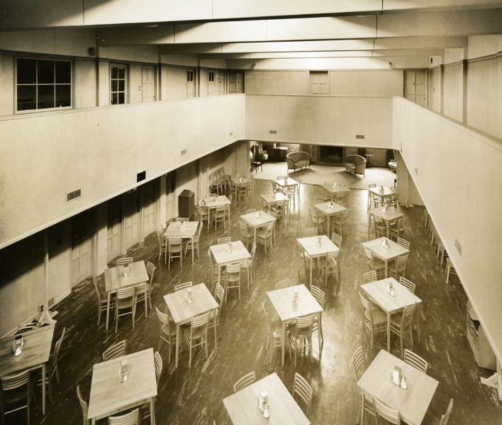 Today's first floor Kittredge Gallery was originally the Commons, the student dining room on campus.