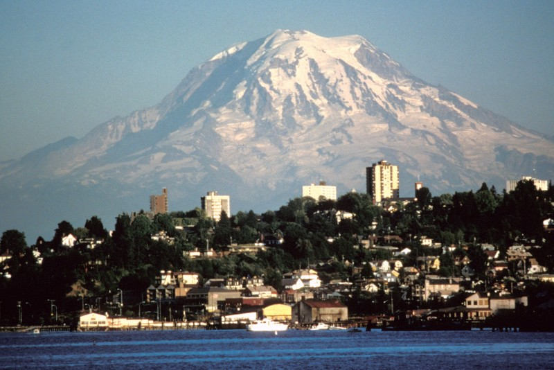 skyline of Tacoma with large view of Mount Rainier in background