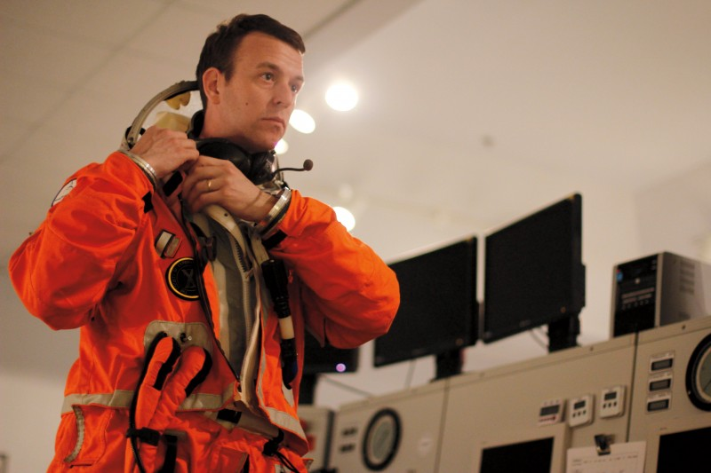 Final Frontier Design founder and spacesuit designer Theodore Southern '00 takes a suit for a test run.