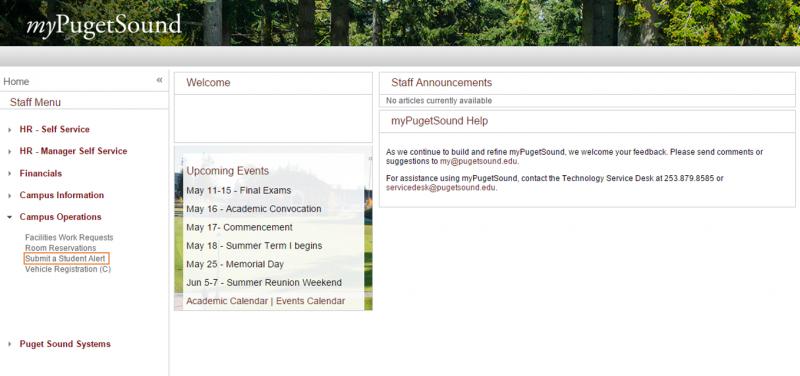 Staff myPugetSound menu screenshot
