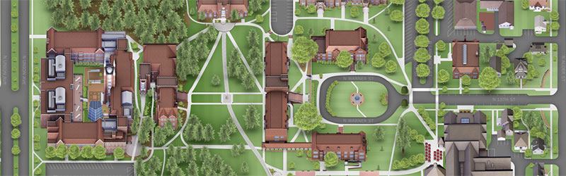 Image of the interactive campus map rendering