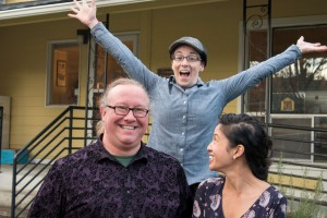 Dave Wright '96, Skylar Bihl '08, and Vivie Nguyen from The Yellow House