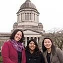 Andrea Tull Davis '02 with Puget Sound students