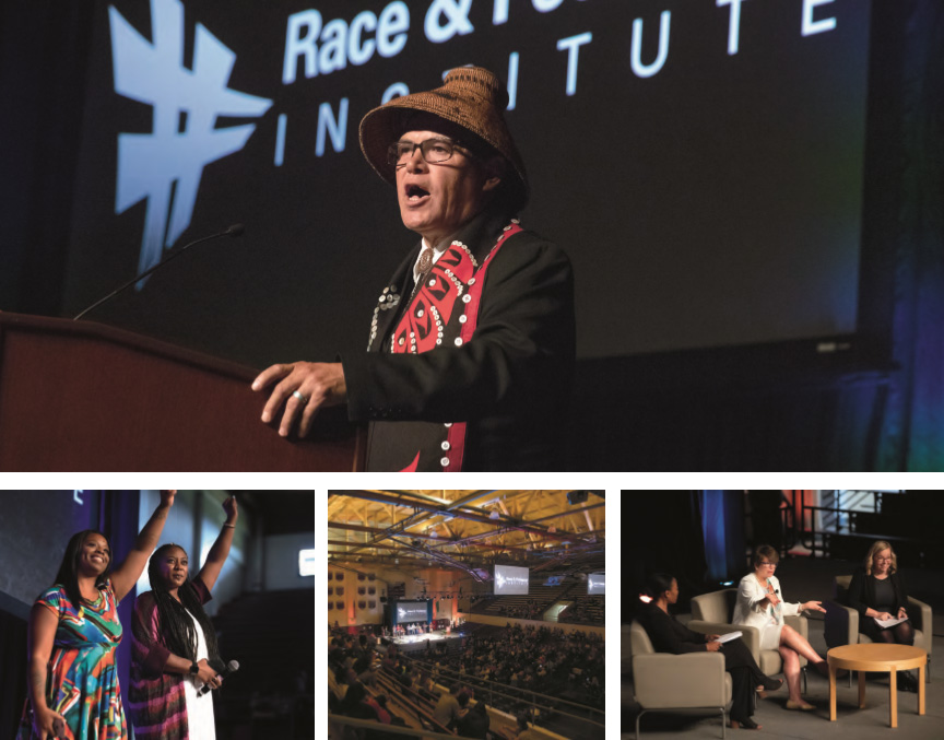 Race and Pedagogy National Conference 2018 (top to bottom, left to right): Brian Cladoosby, Patrisse Cullors and Alicia Garza, conference session in progress in Memorial Fieldhouse, Valerie Jarrett with Associate Professor Renee Simms and Associate Professor Alisa Kessel