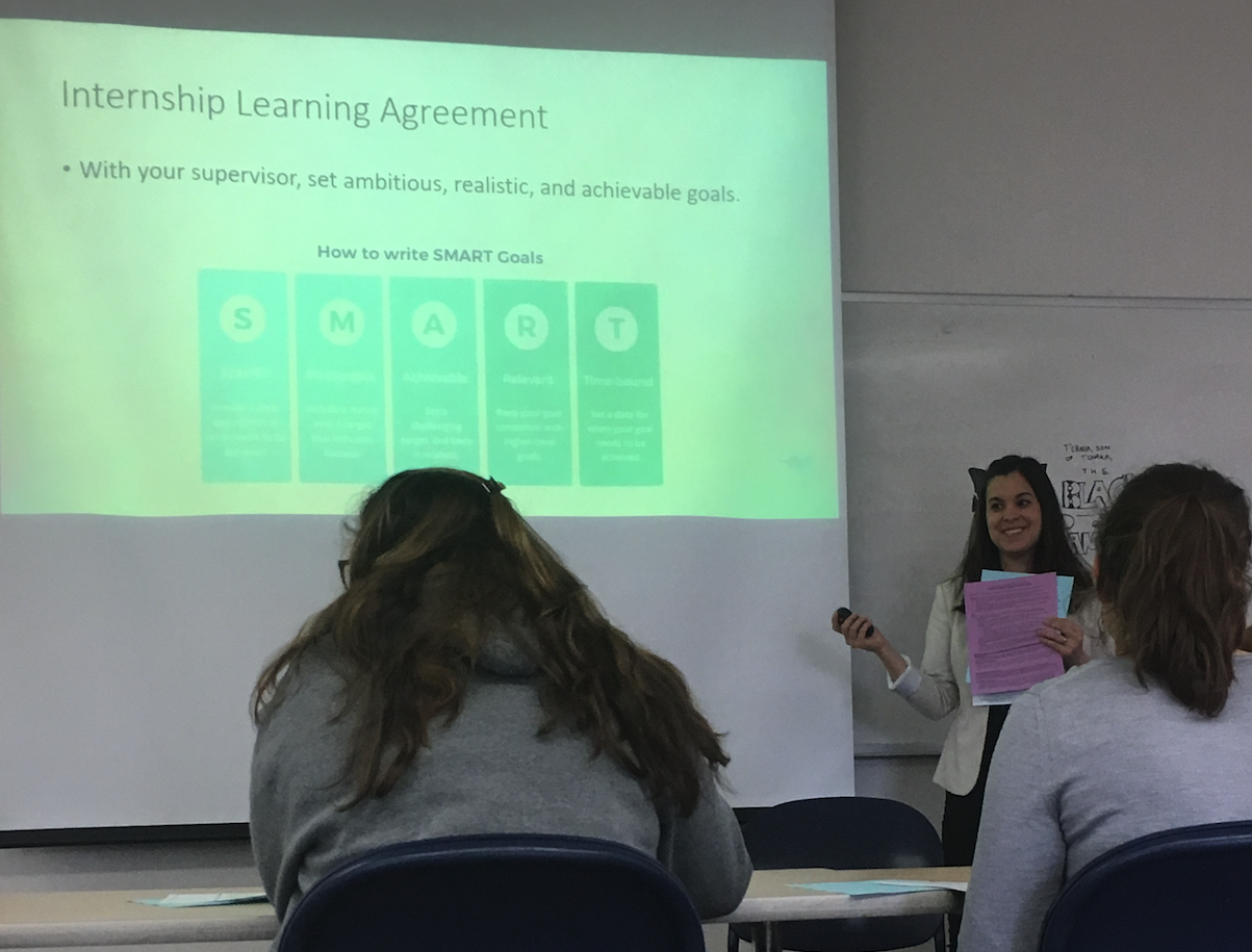 RISE program manager and instructor Nicole Kendrick guides Puget Sound sophomores through the process of securing an internship during a class session last spring