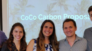 Ben Minges '11, founder and CEO of Copra Coconut Water (center), with the winners of the 2019 Innovate!Create! entrepreneurship competition: Nick Eberhard '22, Victoria Helmer '22, Shirley Mazaltov-Ast '22, and Kala`i Beck '20.