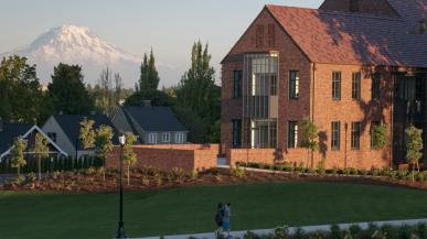 Weyerhaeuser Hall and Mount Rainier