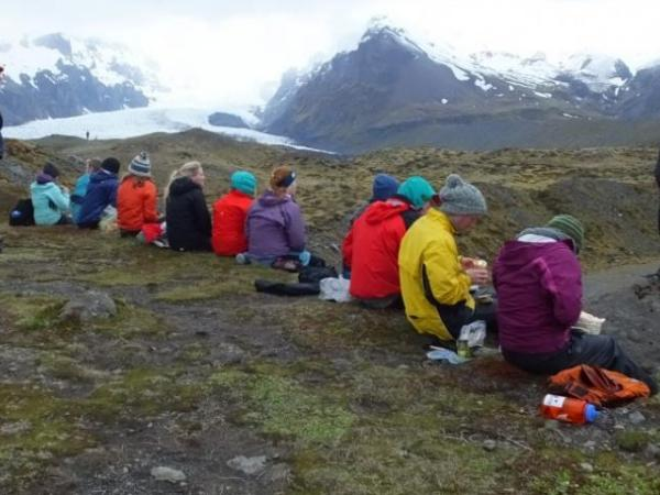 Students overlooking scenery in Iceland