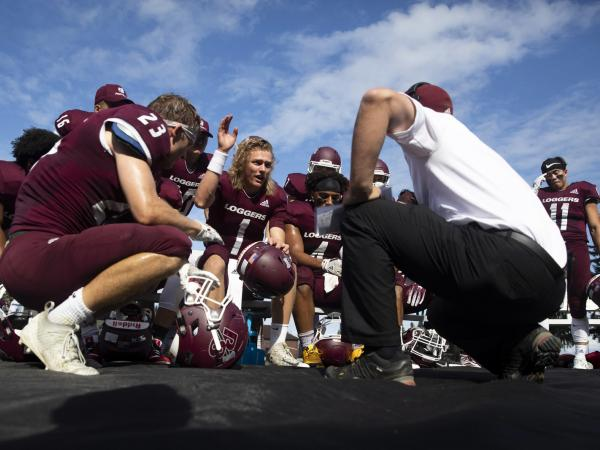 The logger football game versus George Fox during Homecoming and Family Weekend,